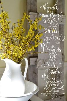 Forsythia, a great flower for a yellow themed early springtime wedding! It means good nature, innocence, and anticipation! I am loving these pops of yellow! Farmhouse Style, Farmhouse Decor, Driven By Decor, Yellow Bathrooms, Spring Has Sprung, Mellow Yellow, Amazing Nature, Yellow Flowers, Decoration