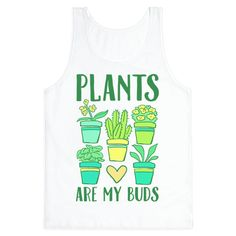 """This gardening gift is perfect for anyone looking to buy something for the green thumb plant lover in their life. Featuring cute illustrations of various houseplants and flowers and the plant pun """"Plants are my buds"""", this gardening shirt is perfect for plant moms and anyone who is a fan of gardening, gardening quotes, gardening jokes, plant puns, plant shirts, nature and flowers."""