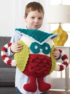 Huggable Owl Pillow | Yarn | Free Knitting Patterns | Crochet Patterns | Yarnspirations