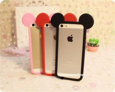Cute disney ear mickey mouse frame Silicone bumper case Cover for iphone5S 5C 4S #UnbrandedGeneric