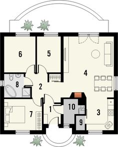 Uroczy Projekt Małego Parterowego Domu Jednorodzinnego Z Kominkiem Adamaszek - rzut parteru Small House Plans, Floor Plans, Flooring, Vacation, How To Plan, Room, Studio, Houses, Projects