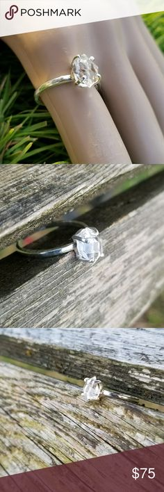 NEW! Herkimer diamond ring Solitaire of Herkimer diamond and 925 Sterling silver,  size 9 NWOT Robin's Nest Jewels Jewelry Rings