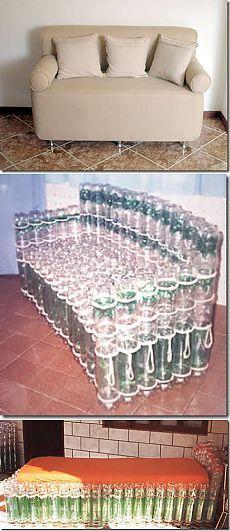 ДИВАН ИЗ ПЛАСТИКОВЫХ БУТЫЛОК  Мебель из пластиковых бутылок.