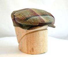Retro Driving Cap in Vintage Plaid Wool  Men's by HatsWithAPast