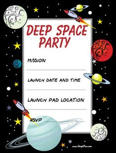 Space Birthday Party Invitations Party Pack Free printable