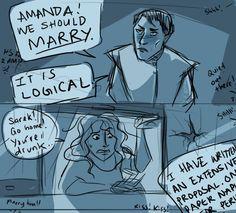 [Star Trek]: Sarek & Amanda Grayson - I could've sworn I'd pinned this already. Star Trek Original, Star Trek Tos, Star Wars, Sleeping Drawing, Starship Enterprise, The Final Frontier, Star Trek Ships, Across The Universe, Fan Art