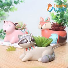 Our whimsical, Boho Animals Planter Pots are handcrafted with love. Perfect for air plants or succulents, these pretty pots are a sweet addition to any home decor and they're so adorable your kids are sure to love them too. Small Succulents, Planting Succulents, Potted Plants, Planting Flowers, Air Plants, Ceramic Planters, Planter Pots, Ceramic Vase, Unique Animals