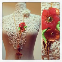 Long necklace with fish and flowers. Resin and gold leaves. Swarovski elements. Hand Made with love. One of a kind.