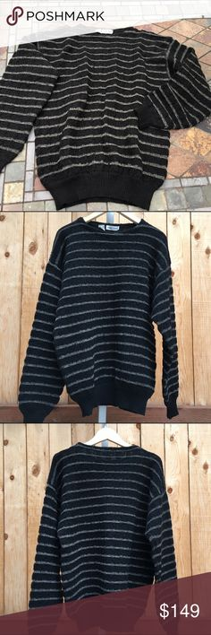 """🆕 Giorgio Armani Sweater ⛄️ Long sleeve black & gray striped sweater. Content is 75% Wool & 25% Mohair. Measurements are 23"""" pit to pit & 27.5"""" from shoulder seam to bottom of sweater. In excellent condition with no spots, holes or damage. Giorgio Armani Sweaters Crewneck"""