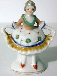 Vintage Miniature Japan Porcelain Beautiful Woman In Dress Figurine