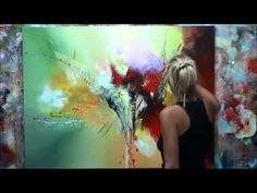 Abstract acrylic painting demo showing parts of personal art lesson - by zacher-finet Abstract Canvas Art, Acrylic Art, Do It Yourself Bilder, Art Courses, Painting Videos, Painting Techniques, Art Tutorials, Art Lessons, Inspiration