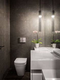 , Contemporary Powder Room Decor With White Modern Water Closet With Floating Style Also Modern Sink Design With White Color And Granite Material Also White Pot And Beautiful Flower Also Unique Pendant Lamp: Appealing Powder Room Designs for Bathroom: