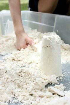 Homemade Moonsand. 8 cups flour + 1 cup baby oil!