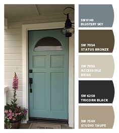 Exterior Paint Colora For House Curb Appeal Entryway Ideas For 2019 Outdoor House Paint, Outdoor Paint Colors, Front Door Paint Colors, Painted Front Doors, Best Exterior Paint, Exterior Paint Colors For House, Paint Colors For Home, Beige House Exterior, Sw 7036