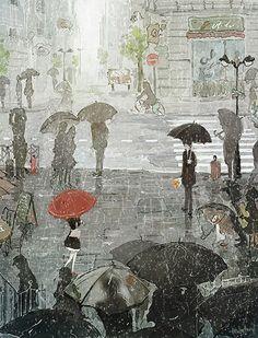 오늘은 비가 내렸다 화려한 옷을 벗은 이 도시가 오히려 상쾌하다 혹시나 길을 잃은 그대를 만나게 되진 않을까 난 발걸음에 힘이 들어간다 빗방울이 굵어져 세차게 비가 내려도 모두들 옷깃을 새우고 우산을 꼭 잡아 눌러써도 왜인지 난 한 순간에 그대를 알아 볼 수 있을 것 같다 문득 빗방울이 고장 난 우산 사이로 차갑게 나를 만진다 싫지 않은 느낌이다 By 현현(endmion1)