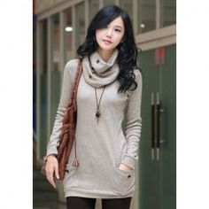 $7.86 Trendy Long Sleeve Sweater With Scarf For Women