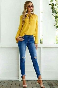 Casual Work Outfits, Work Casual, Jean Outfits, Casual Shirt, Women's Casual, Outfit Jeans, Blouse Outfit, Bow Blouse, Look Fashion