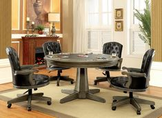 Furniture of America Yelena Game Table with Contemporary Style inter-Changeable Design, Pedestal Base, Built-In Cup Holders in Gray Dining Set, Dining Room Table, A Table, Dining Rooms, Table Games, Game Tables, Wooden Tables, Room Set, Poker Table