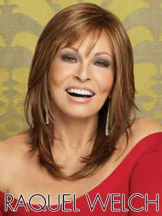not too much hair in it, looks natural.   I've bought two.                                  Star Quality by Raquel Welch | Wigs.com - The Wig Experts