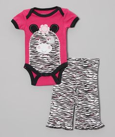 This Hot Pink Zebra Bodysuit & Pants - Infant by Weeplay Kids is perfect! #zulilyfinds