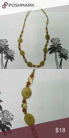 Green Natural Stone & Crystal Beads, J507 Natural Stone Necklace with Amber and crystal beads. New Hand crafted Hand Crafted Artisan Jewelry Necklaces