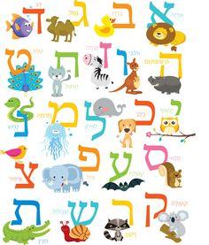 Hebrew Alphabet Art Print with Animals Aleph by QuillingJudaica