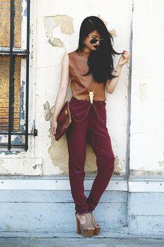 Wine Lips, Wine Pants (by Natalie Liao) http://lookbook.nu/look/4032870-Wine-Lips-Wine-Pants