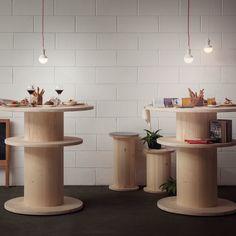 Arredamento Bobine Rocchetti - Pozzi Napoelone | Tavoli area break bar- prezzo a partire da € 130,00 - arredamento bobine legno