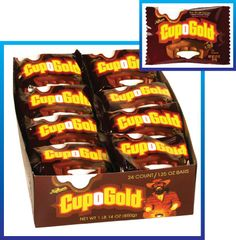 Fall colored individual packages of CUP-O-GOLD chocolate, coconut and toasted almond cups