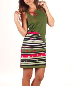 Look at this Avispada Olive Stripe Tie-Neck Sheath Dress on #zulily today!