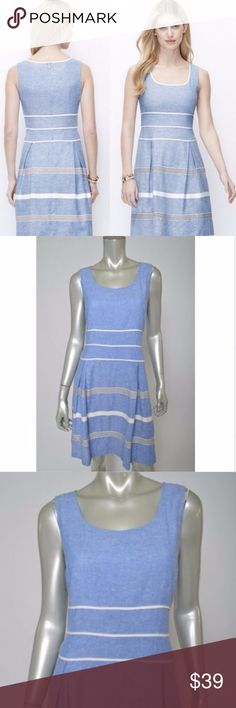Ann Taylor Linen Sleeveless Fit & Flare Dress 12 Ann Taylor Linen Blend Lined Sleeveless Fit & Flare Striped Dress size 12 Total length is 38 inches. Bust is 42 inches, unstretched Excellent Condition Ann Taylor Dresses