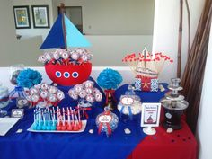 Nautical Candy Buffet... Baby Shower Niño, Candy Buffet, Christening, Birthday Candles, Nautical, Diy And Crafts, Party, Events, Recipes