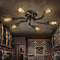 6 Lights Industrial Cage Pipe Pendant Light-LITFAD Retro Rustic Iron Black Vintage Hanging Pendant Lamp Edison Ceiling Chandelier Semi-Flush Fixtures