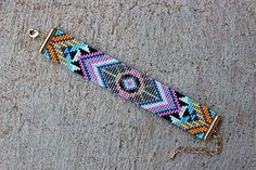 Boho Bracelet Bohemian Jewelry Loom Beaded Bracelet Aztec