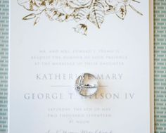 Invitation with Wedding Rings / Ring Detail Shot by Wendy Zook Photography / Frederick Maryland Wedding Photographer