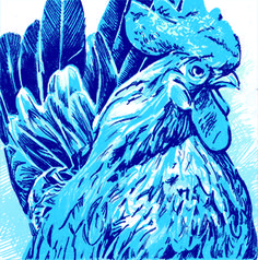 Blue Rooster   Reduction Cut Linoleum Block Print - Curt wells
