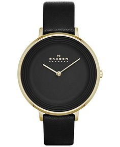 Skagen Women's Ditte Black Leather Strap Watch 30mm SKW2286 - Women's Watches - Jewelry & Watches - Macy's