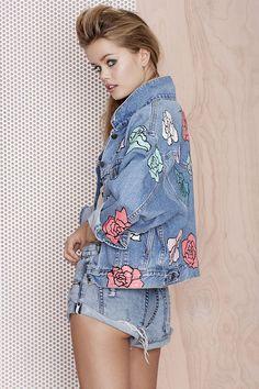 Nasty Gal x Peggy Noland Hand Painted Denim Jacket - Jackets | Jackets + Coats |  | Jackets + Coats
