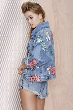 Nasty Gal x Peggy Noland Hand Painted Denim Jacket - Jackets | Jackets + Coats |  | Jackets + Coats