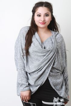 58ca41fbb39 Description This plus size sweater top features a marled knit fabrication