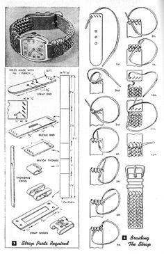 Braiding leather watch strap