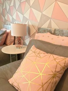 Modern grey, blush and rose gold teen room makeover for Make A Wish UK Diy Room Decor For Teens, Cute Bedroom Ideas, Teen Room Decor, Room Ideas Bedroom, Room Decor Bedroom Rose Gold, Small Room Bedroom, Deco Pastel, Bedroom Wall Designs, Pink Bedrooms