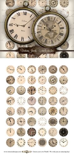 48 Clock Face Bottle Caps 1 inch circles by VectoriaJewels on Etsy