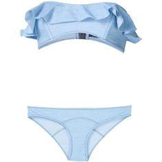 Lisa Marie Fernandez Ruffled Denim Bikini found on Polyvore featuring swimwear, bikinis, bikini, swim, swimsuits, blue, swimsuits bikinis, ruffle bikini, ruffle swimsuit and ruffle bathing suit