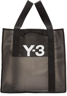 Translucent rubberized tote bag in black. Logo printed in white at face. Grab handles at front and back face. Perforated detailing at sides and base. Y3 Bag, Custom Paper Bags, Best Bags, Beach Tote Bags, Shopper Bag, Fashion Bags, Travel Bags, Shopping, Black