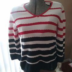 Liz Claiborne Red White Blue Long Sleeve Sweater Petrie Large #LizClaibourne #Crewneck