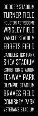 Baseball stadiums subway sign. If Dodger stadium is on this list...surely Chase field should be there!