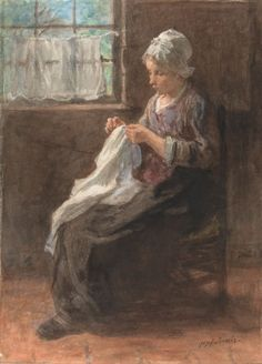 Jozef Israëls, Het naaistertje, 1834 - 1911, waterverf op papier, 41.4 × 30.4 cm, Rijksmuseum Amsterdam