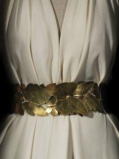 Madeleine Vionnet - gold belt, motif of leaves, flowers, berries, over cream-colored dress