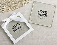Personalized Love Wins Glass Coaster (Set of 12)   My Wedding Favors